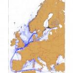 Mapa de tráfico marítimo en Europa
