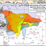 Mapa del vertido de petróleo en el Golfo de México