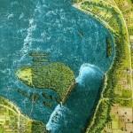 Vista aérea de las cataratas del Niágara (1827)