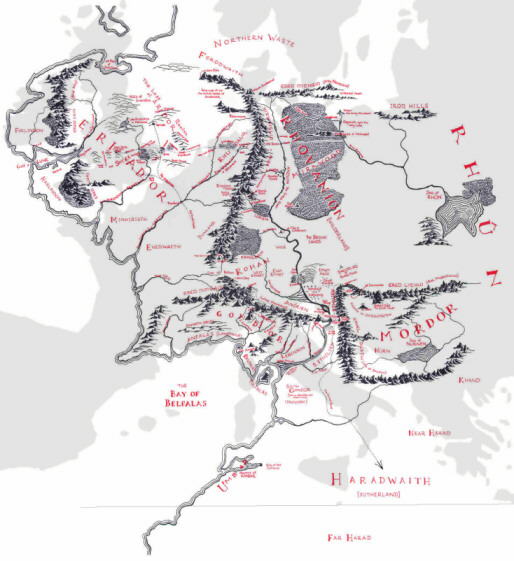 Mapa Tierra Media Detallado.Cuan Grande Es La Tierra Media La Cartoteca